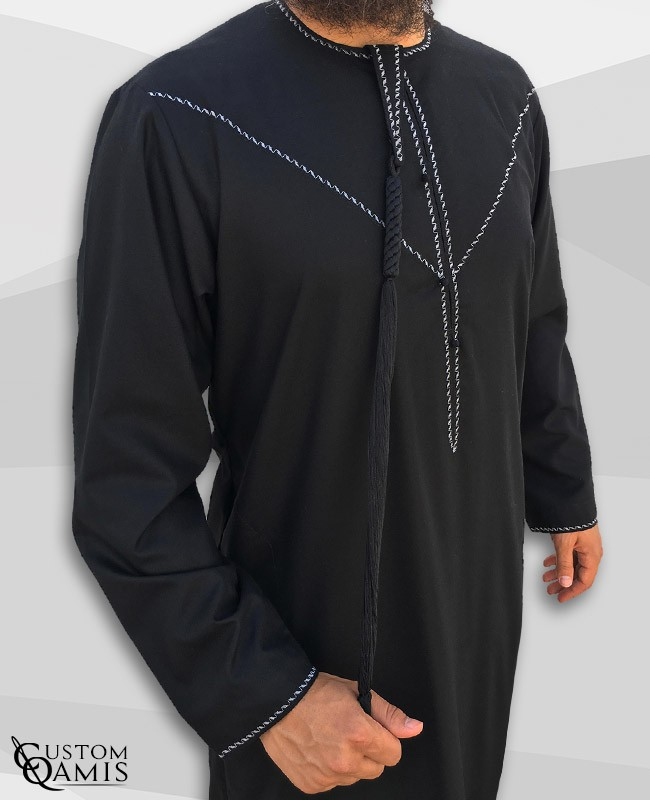 Emirati Thobe fabric Platinium black with Tarboucha (lash) detachable and Embroidery wihte