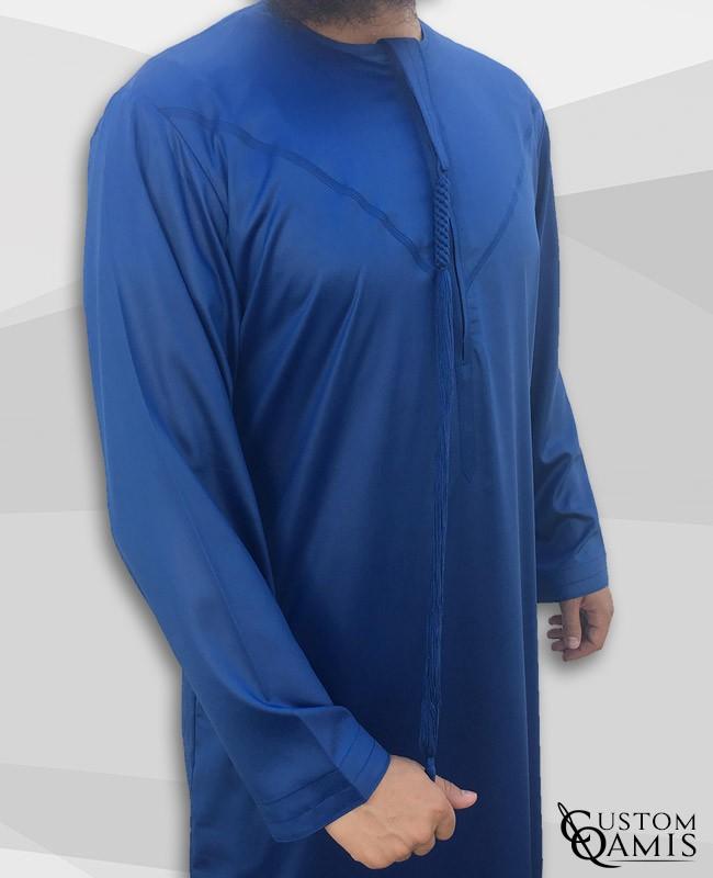 Emirati Thobe fabric Precious royal blue matt with Tarboucha (lash) detachable and closure with zip (zipper)