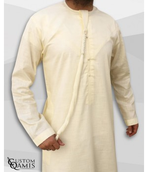 Qamis Emirati tissu Linen jaune clair avec tarboucha détachable