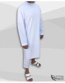 Ensemble Pakistannais tissu Precious blanc satiné avec serwel coupe droite