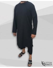 Ensemble Pakistannais Tissu Platinium noir avec serwel coupe droite