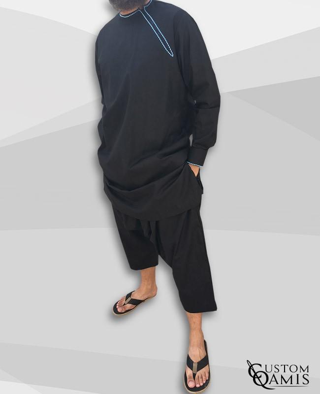 Pakistani set Platinium black with sky blue embrodery and sarouel qandrissi cut
