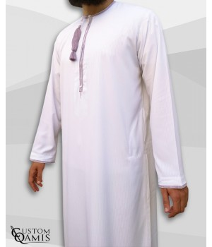 Omani thobe fabric Platinium white and light purple embroidery