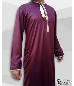 Omani thobe fabric Precious burgundy and light yellow embroidery