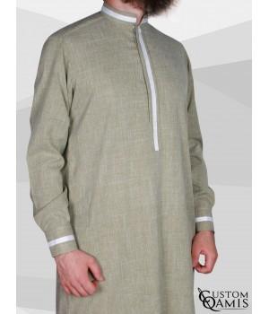 Qamis Trend tissu Imperial vert et bandes blanches