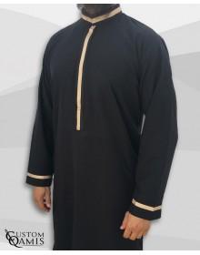 Qamis Trend tissu Platinium noir et bandes beiges