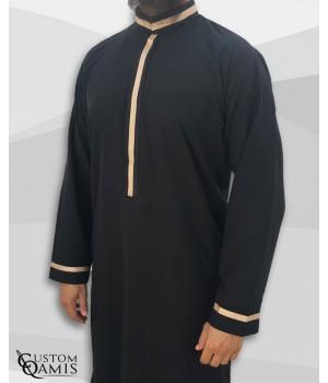 Trend thobe fabric Platinium black and beige strips