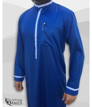Trend thobe fabric Precious royal blue satin and white strips
