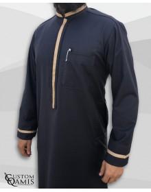 Qamis Trend tissu Cashmere Wool gris foncé et bandes beiges