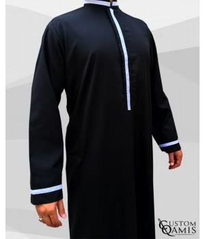 Qamis Trend tissu Platinium noir et bandes blanches
