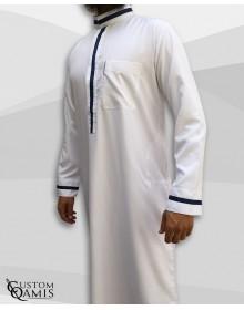 Trend thobe fabric Platinium white and navy blue strips saudi collar
