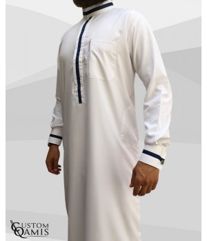 Trend thobe fabric Platinium white and navy blue strips saudi collar with cuffs