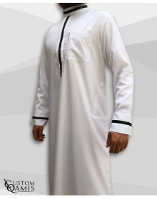 Trend thobe fabric Platinium white and black strips saudi collar