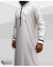 Trend thobe fabric Platinium white and black strips saudi collar with cuffs