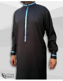 Trend thobe fabric Platinium black and sky blue strips Kuwaiti collar with cuffs