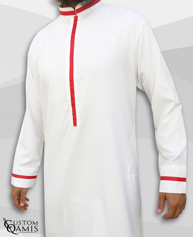 Trend thobe fabric Precious white satin and red strips with Abadi collar