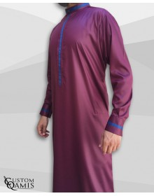 Trend thobe fabric Precious burgundy satin and navy blue strips with Kuwaiti collar