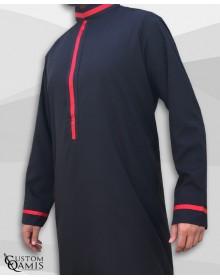 Qamis Trend tissu Platinium noir et bandes rouges col abadi