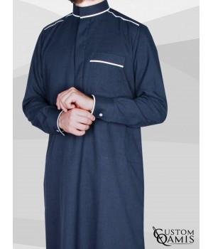 Qamis Trim tissu Imperial bleu marine et blanc