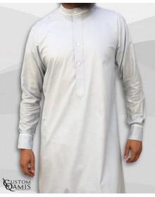 Qamis Trim tissu Linen gris clair et crème
