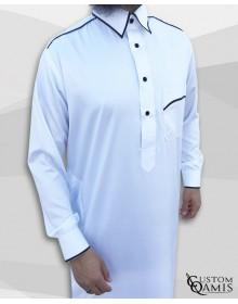 Qamis Trim tissu Precious bllanc et noir satiné col Qatari