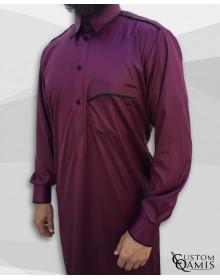 Qamis Trim tissu Precious bordeaux et noir mate col Qatari