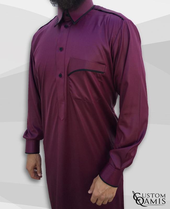 Trim thobe fabric Precious burgundy and black matt Qatari collar