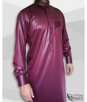 Trim thobe fabric Precious burgundy and black satin Abadi collar