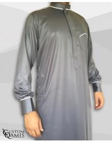 Qamis Trim tissu Precious gris et blanc satiné col Abadi