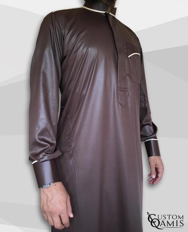 Trim thobe fabric Precious brown and white satin Abadi collar