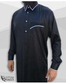 Qamis Trim tissu Precious noir et bleu ciel mat col Qatari