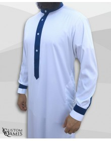 Two Tone thobe fabric Precious white and royal blue matt Kuwaiti collar