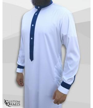 Qamis Two Tone tissu Precious blanc et bleu roi mat col Koweti