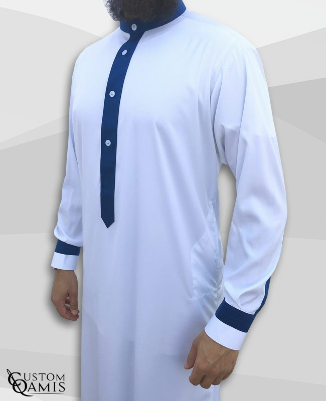 Qamis Two Tone tissu Precious blanc et bleu marine mat col Koweti