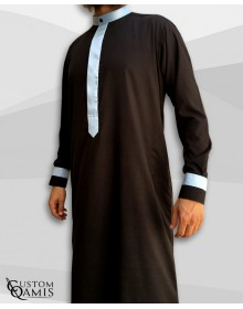 Two Tone thobe fabric Spring black and light sky blue Kuwaiti collar