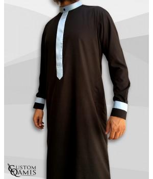Two Tone thobe fabric Spring black and light sky blue Kuwaiti collar
