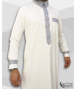 Two Tone thobe fabric Spring cream and light grey Qatari collar