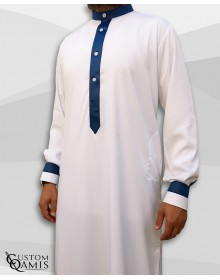 Two Tone thobe fabric Royal white with strips and navy blue Kuwaiti collar