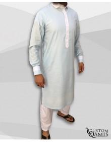 Qamis Two Tone coupe pakistannaise tissu Linen bleu ciel clair et crème