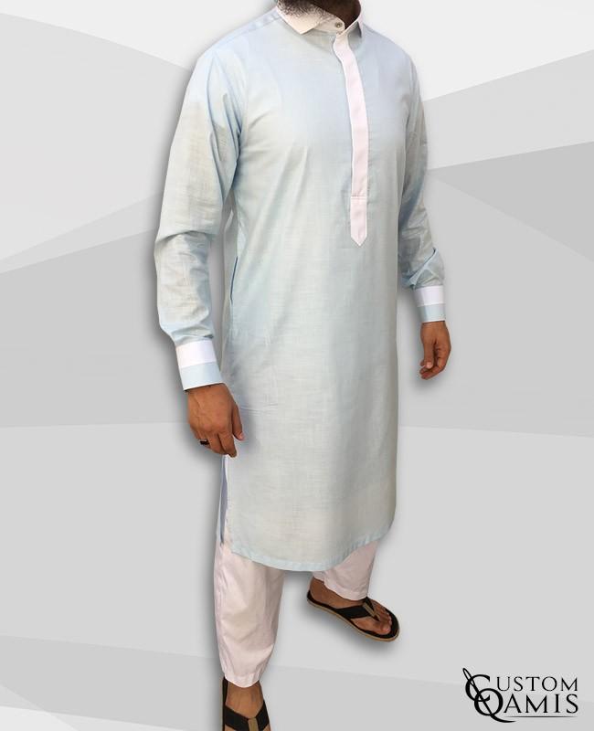 Two Tone thobe Pakistani cut fabric Linen light sky blue and white