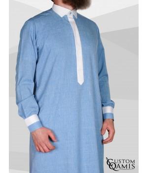 Qamis Two Tone tissu Imperial bleu ciel et blanc