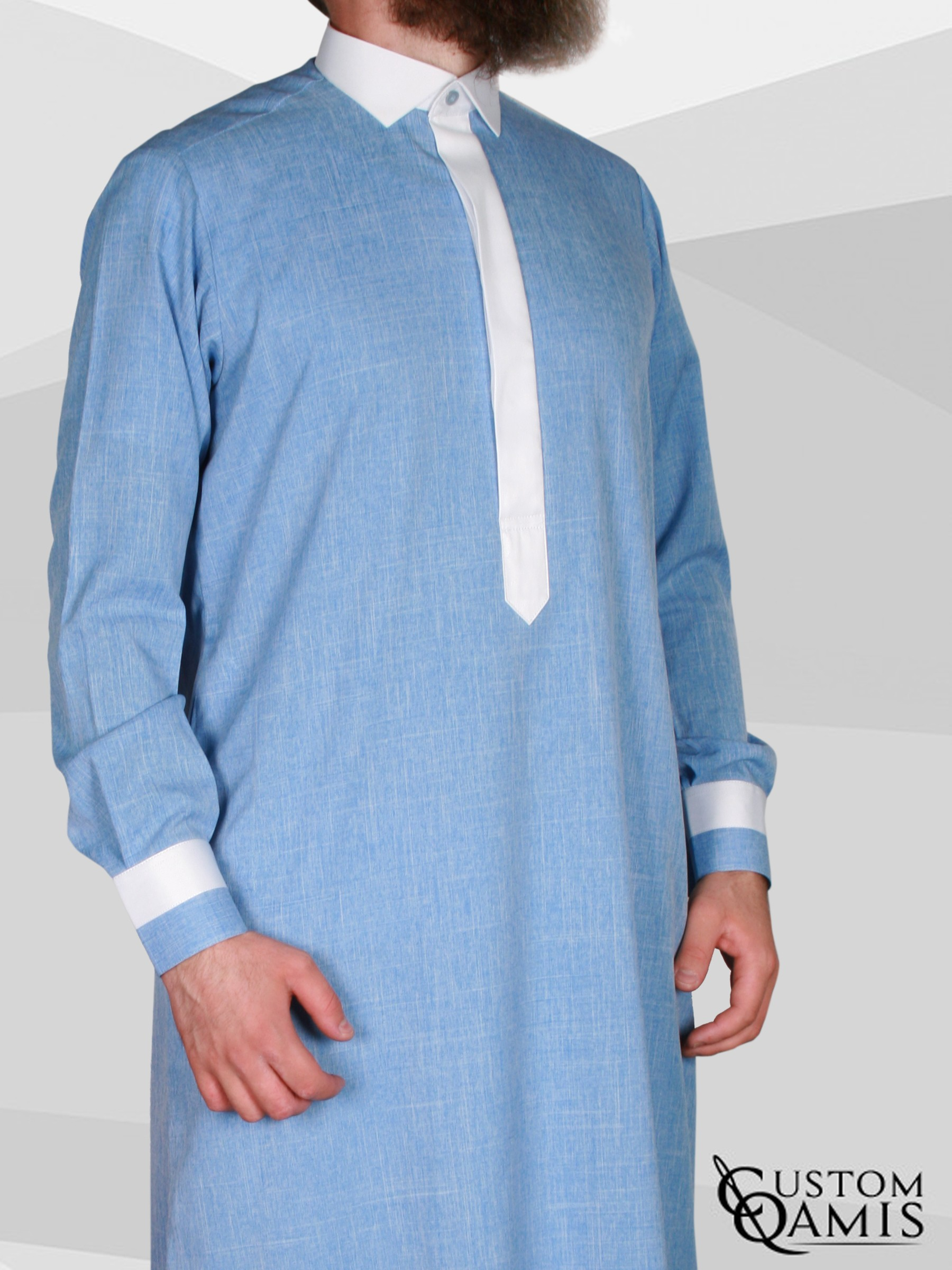 Two Tone thobe fabric Imperial sky blue and white