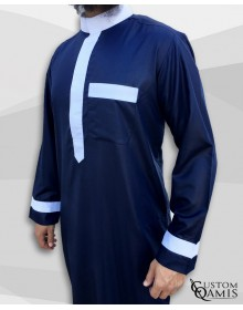Two Tone thobe fabric Precious navy blue and white satin Saudi collar
