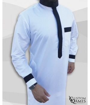 Two Tone thobe fabric Precious white and black satin Saudi collar with cuffs
