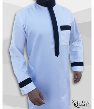 Two Tone thobe fabric Precious white and black satin Saudi collar