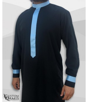 Two Tone thobe fabric Platinium black and sky blue Kuwaiti collar with cuffs