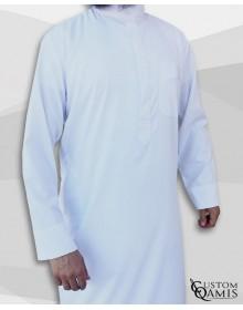 Qamis Classic Saoudi blanc Tissu Sping