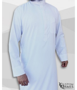 Classic Saudi Thobe White Spring Fabric