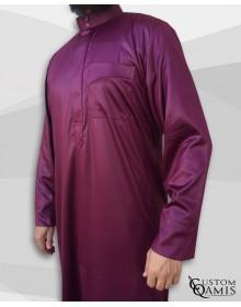 Qamis Classic Saoudi bordeaux satiné Tissu Precious