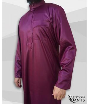 Classic Saudi Thobe burgundy satin Precious Fabric
